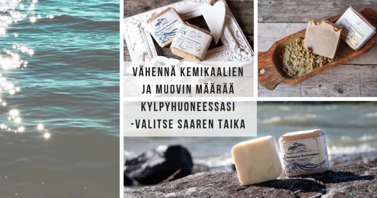 Vähennä kylpyhuoneen kemikaaleja ja muovijätettä käyttämällä luonnollisia, vegaanisia ja ekologisia Saaren Taika shampoita, saippuoita ja hoitoainepalaa <3