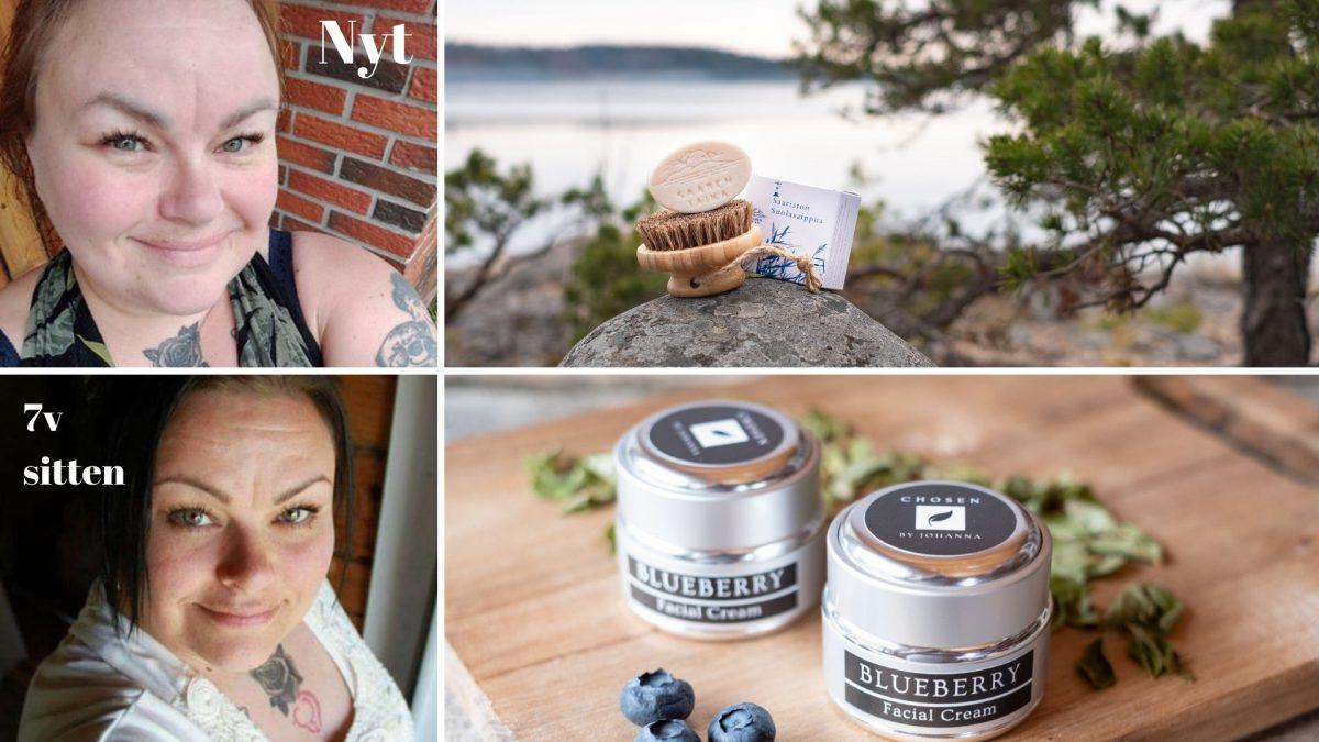 Katso kuvista miten ihoni nuoreni Saaren Taika tuotteilla ja miksi pienituloisenakin kannattaisi käyttää Saaren Taikaa!